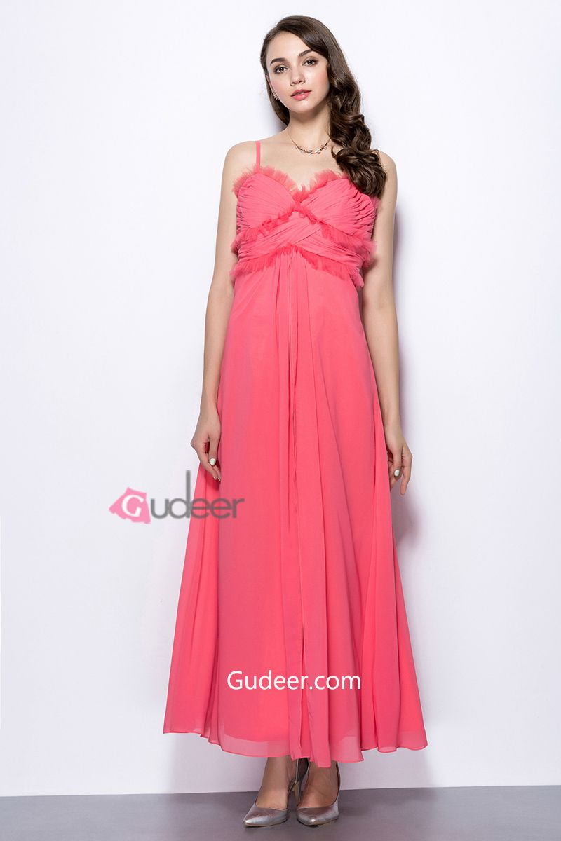 Spaghetti Strap Long Chiffon Prom Dress. cheap evening gowns. cheap ...