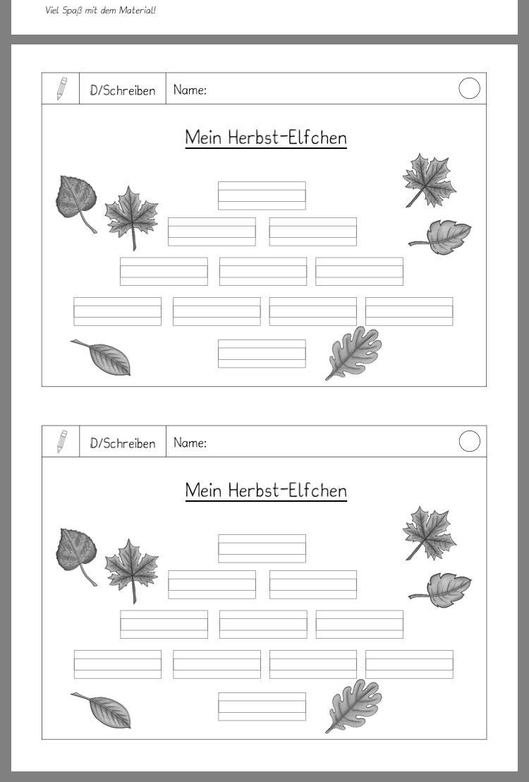 Herbst Elfchen Deutsch Schreiben Gedicht Schule Und Elfchen