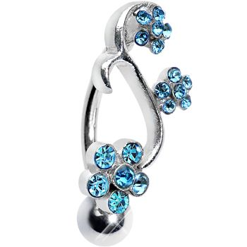 Aqua Gem Climbing Vine of Flowers Top Mount Belly Ring | Body Candy Body Jewelry #bodycandy #piercings #bellyring
