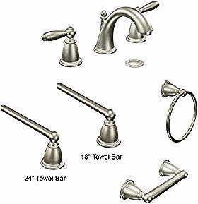 Photo of Bathroom faucets and fixtures – Moen Brantford polished nickel collection.#bathr…
