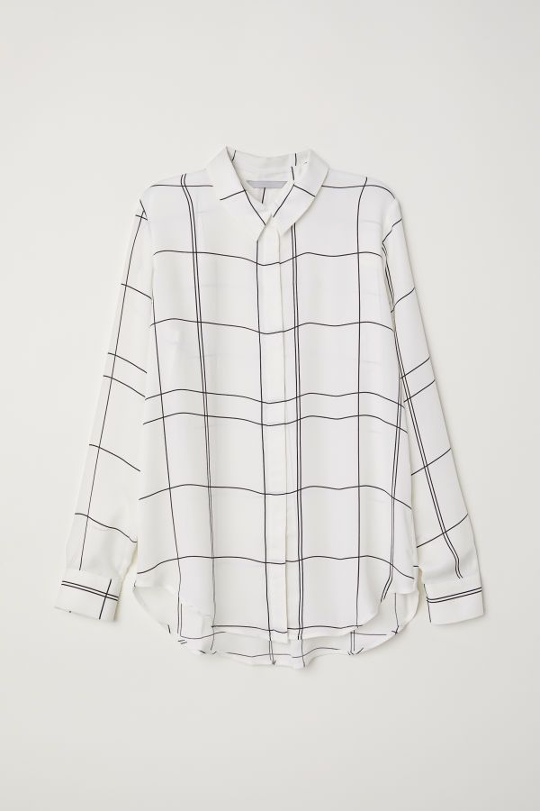Long-sleeved Blouse   White/checked   Women   H&M US   H & M ...