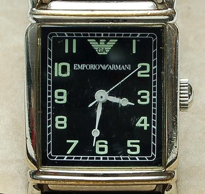 Armani ladies wristwatch Emporio stainless-steel case and leather bracelet Italy 1999