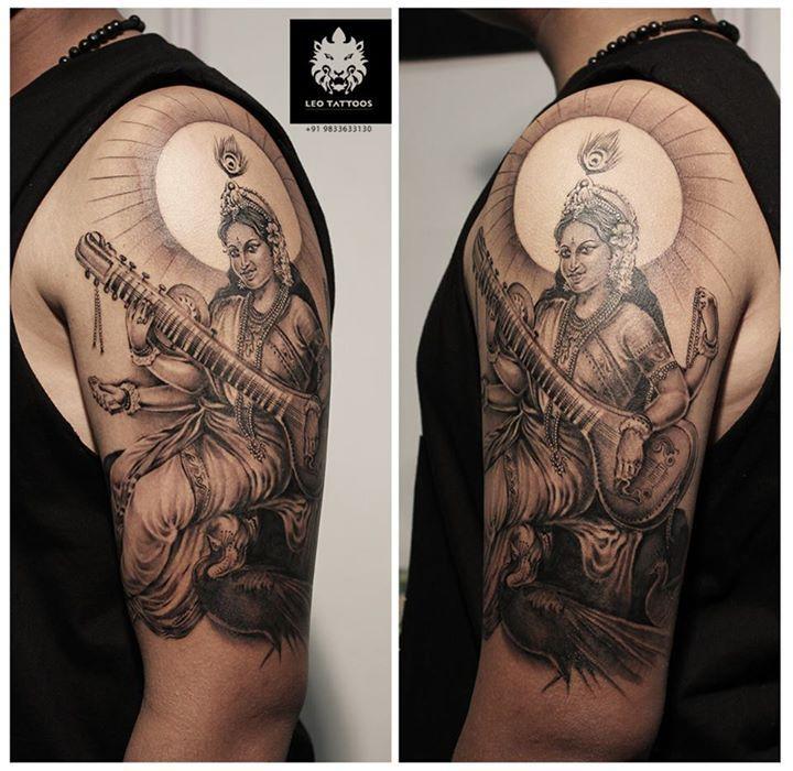 Best Lord Shiva Mahadev Tattoos Done At Iron Buzz: #Saraswati #Hindu #goddess #knowledge #music #arts #wisdom