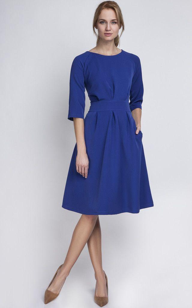281040c4cbd5 Cobalt Blue A Line Midi Dress