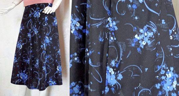 bca27a48ee Vintage Skirt, Handmade Skirt, 80's Skirt, Floral Black Skirt, Long Skirt,  Blue Flowers Skirt, 80's Women Fashion