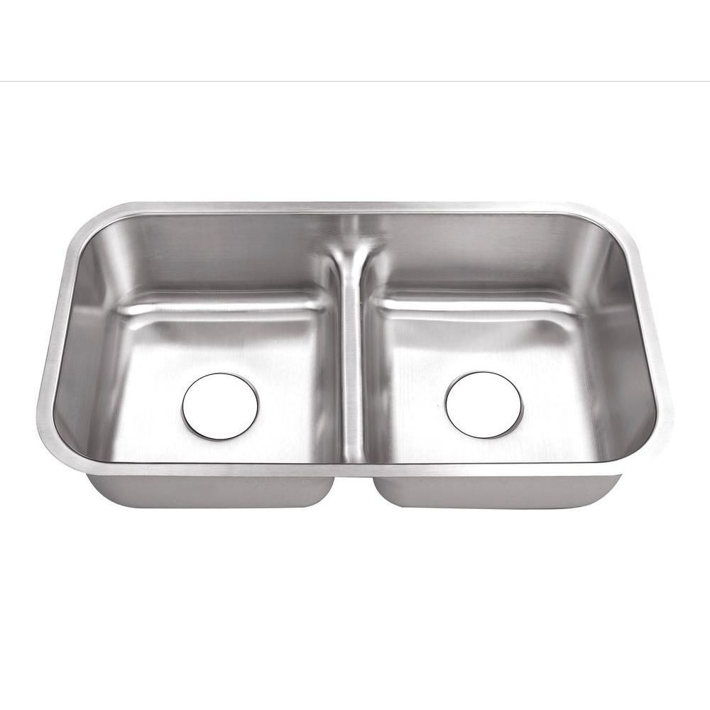 Belle Foret Undermount Stainless Steel 32 In 0 Hole 50 50 Double