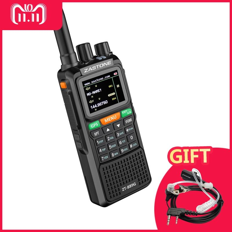 ZASTONE ZT-889G GPS Ham Radio 10W DualBand Transceiver Balck Walkie Talkie 999CH