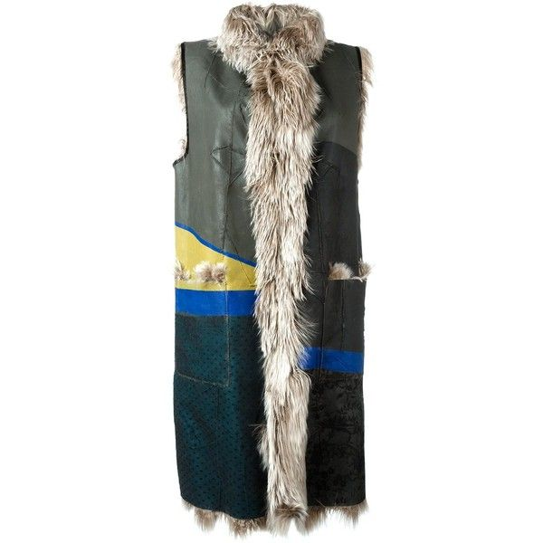 Maison Margiela patchwork sleeveless fur coat ($6,272) ❤ liked on Polyvore featuring outerwear, coats, multicolor, stand collar coat, fur coat, colorful coat, maison margiela and mid length coat