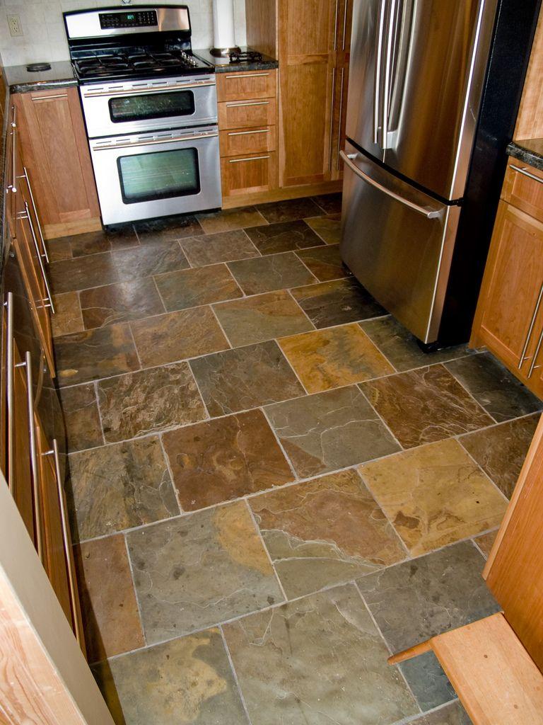 Slate floor   natural slate 9x9 set in a brick pattern   Roger ...