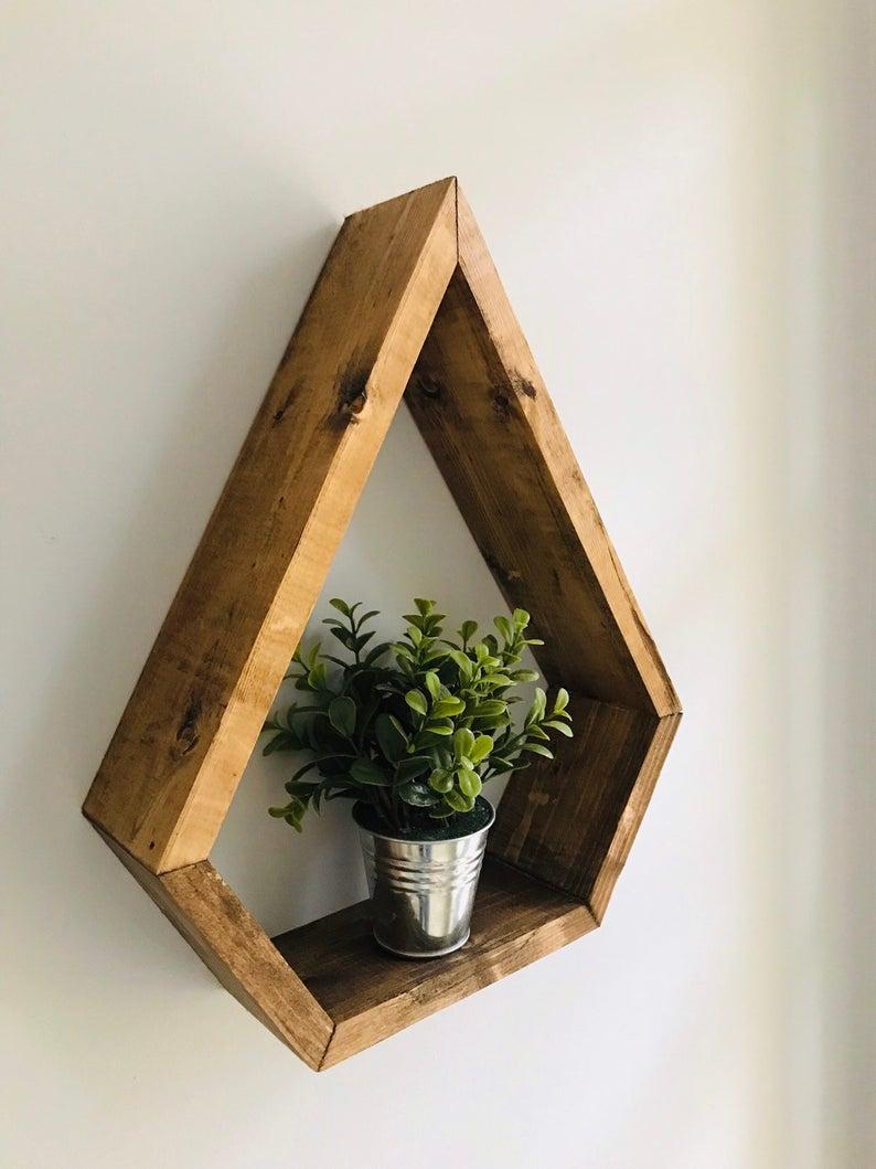 Modern Reclaimed Wood Floating Shelf Unique Home Decor For   Etsy