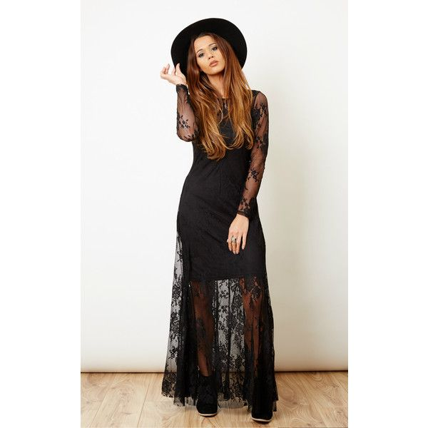54df66c676c Glamorous Black Lace Long Sleeve Maxi Dress ($72) ❤ liked on Polyvore  featuring dresses, gowns, black, short maxi dress, lace gown, long-sleeve  maxi dress, ...