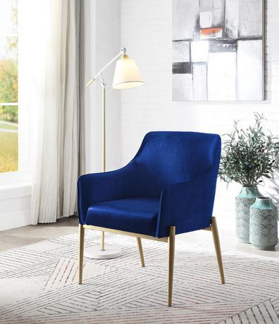 Topline Home Furnishings Navy Blue Velvet Accent Chair Navy Blue