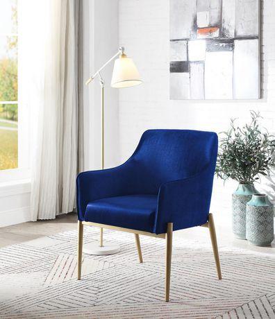 Topline Home Furnishings Navy Blue Velvet Accent Chair Navy Blue