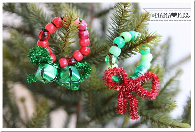 Beaded Pipe Cleaner Mini Wreaths The Studio Mama Miss Mama Miss Blog Christmas Crafts For Kids Christmas Ornaments Christmas Gift Decorations