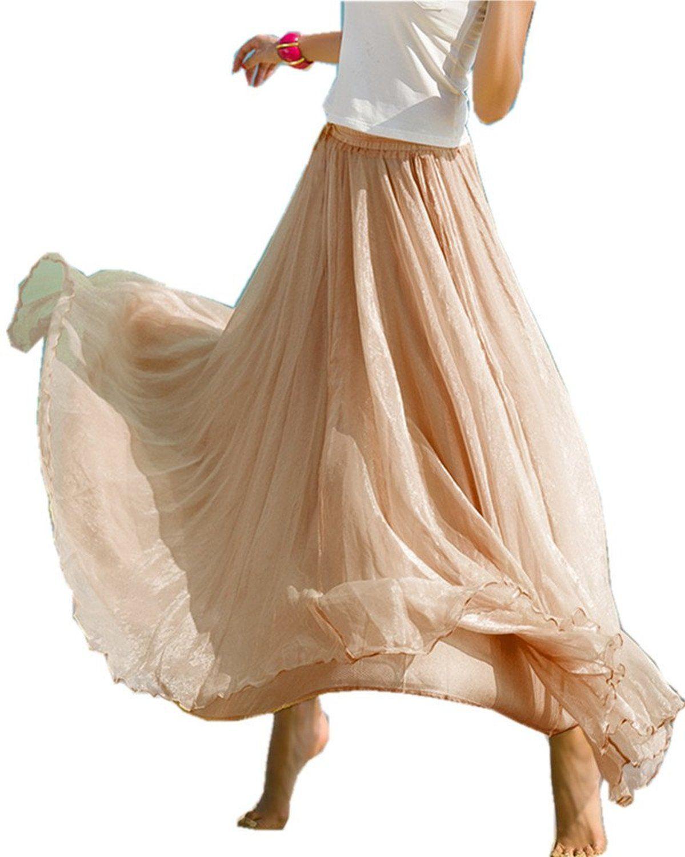 1cb22bf0313614 Mullsan® Women Retro Vintage Double Layer Chiffon Pleat Maxi Long Skirt  Dress (A Beige) at Amazon Women's Clothing store: