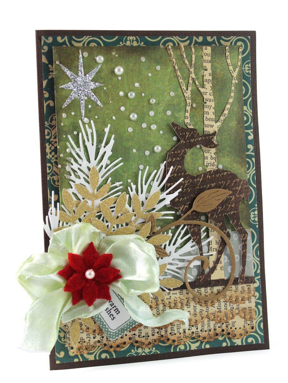 Merry Christmas Card Blessed Christmas Card Deer Christmas Cards
