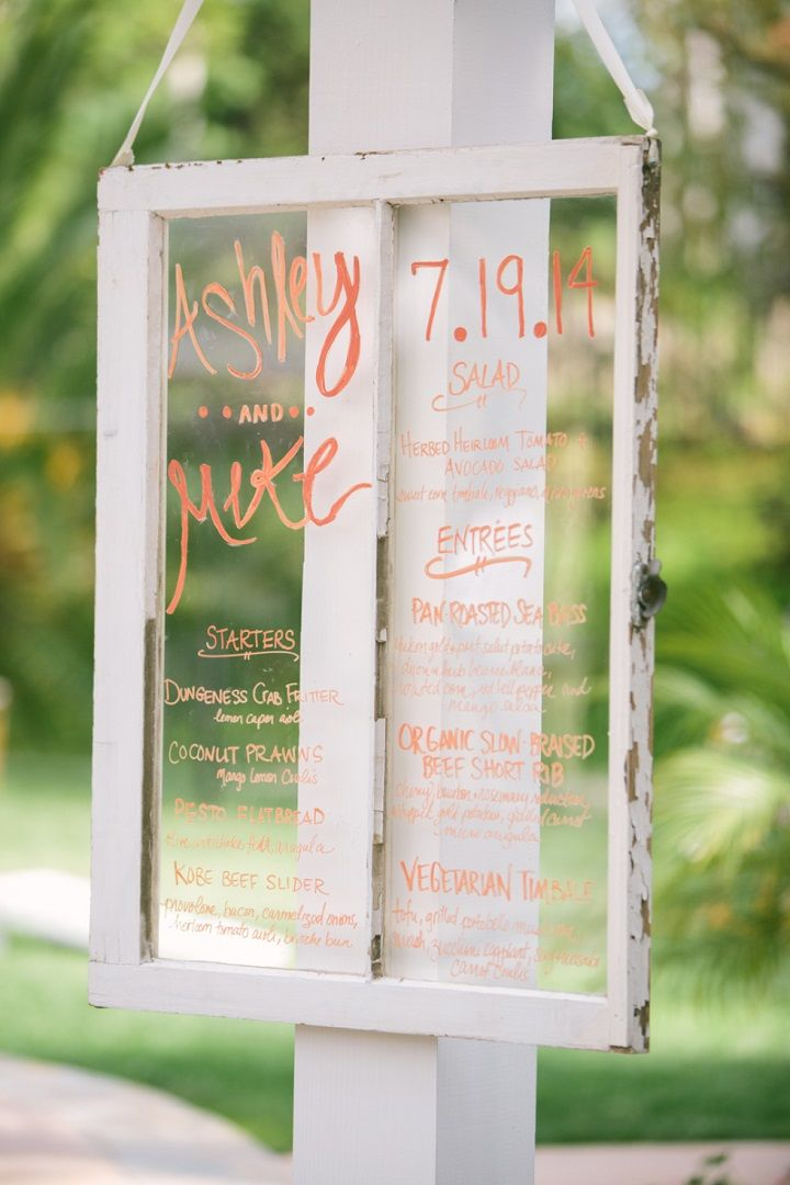 Unique wedding reception ideas on a budget - Old window used for wedding menu displays