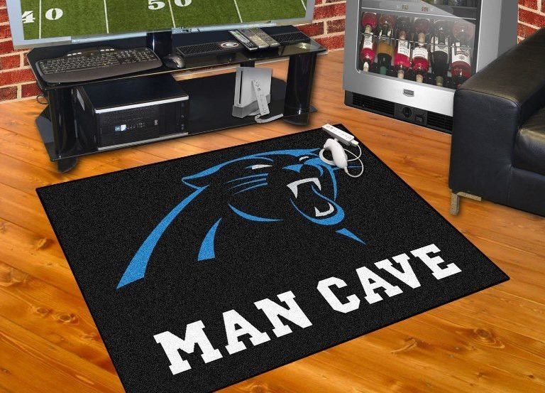 An ideal way to show your true team spirit this stylish rug complements the decor in any space off love for carolina panthers with also best man cave images on pinterest rh