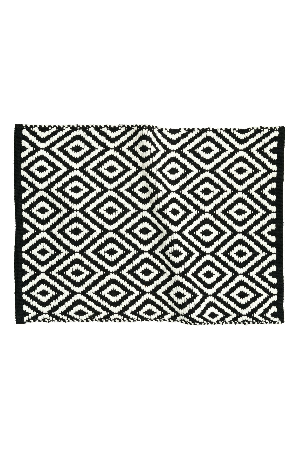 Black Patterned Rectangular Bath Mat In Cotton With A Jacquard