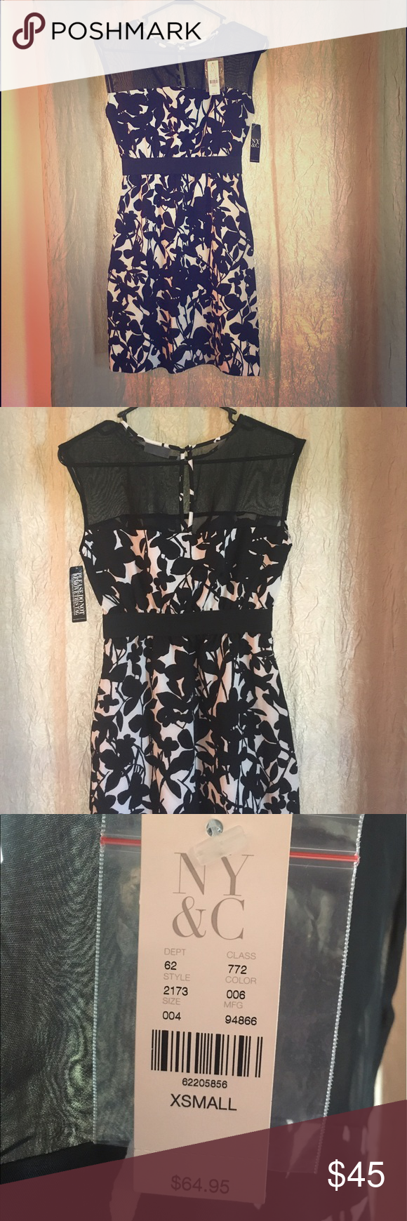 New York & Co. black and white cocktail dress Black and white sleeveless cocktail dress, with floral print. Sheer detail from neckline to bust. Keyhole back with button closure detail. Comfortable, breathable fabric, very flattering fit. New York & Company Dresses Mini
