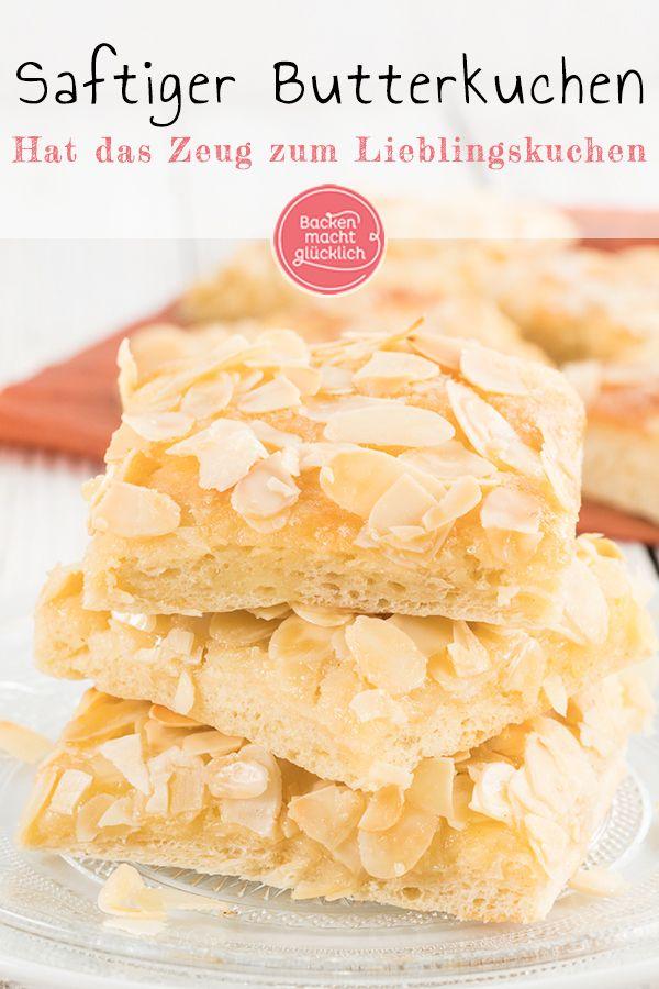 Saftiger Butterkuchen mit Mandeln und Sahne | Backen macht glücklich