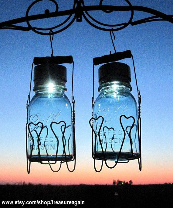 2 Hanging Basket Solar Jars Vintage Ball Mason By Treasureagain 65 50