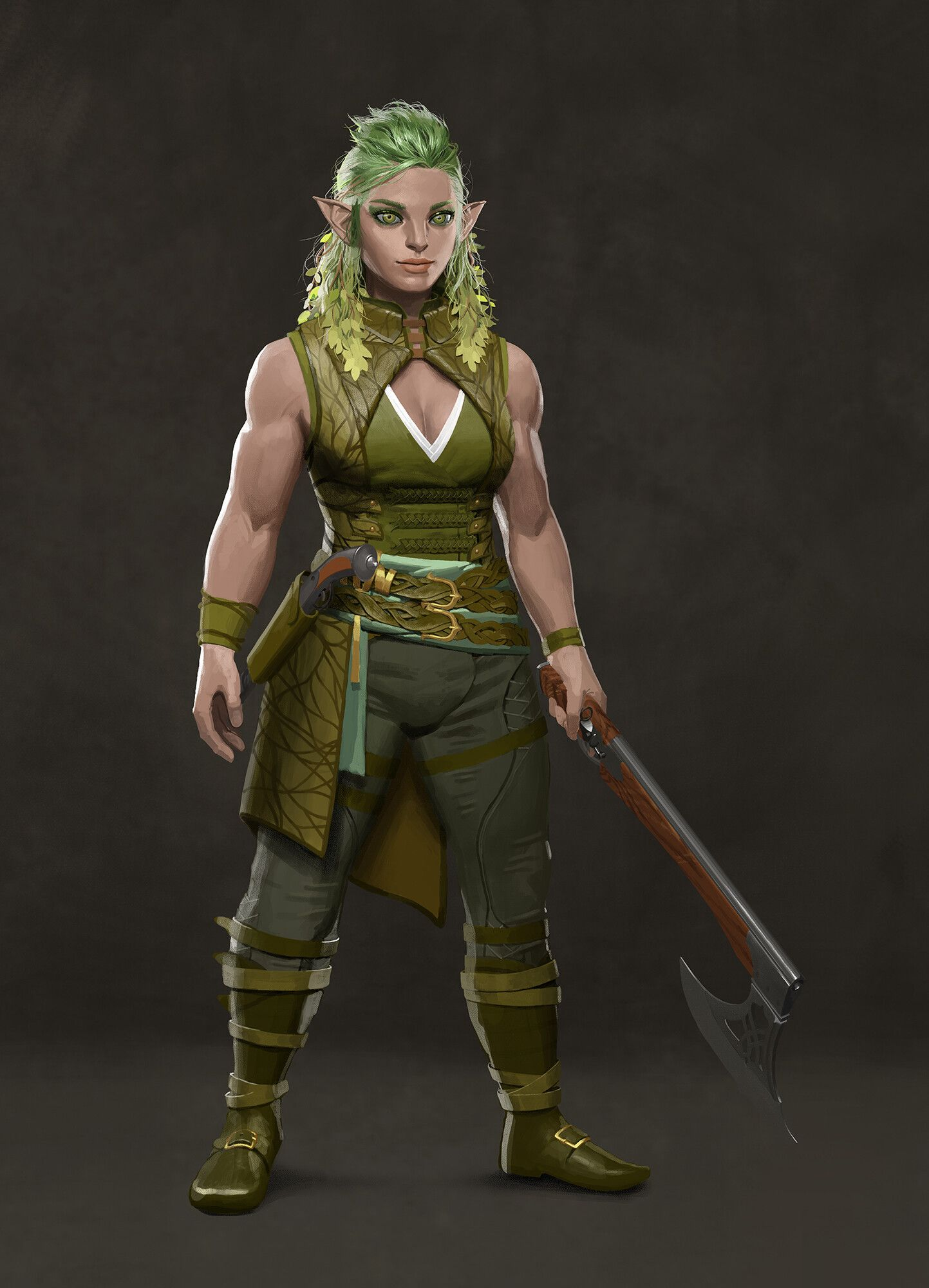 Female Muscular Elf Or Fey Or Gnome With Green Hair And Eyes And Hand Axe In 2020 Character Portraits Female Characters Fantasy Dwarf
