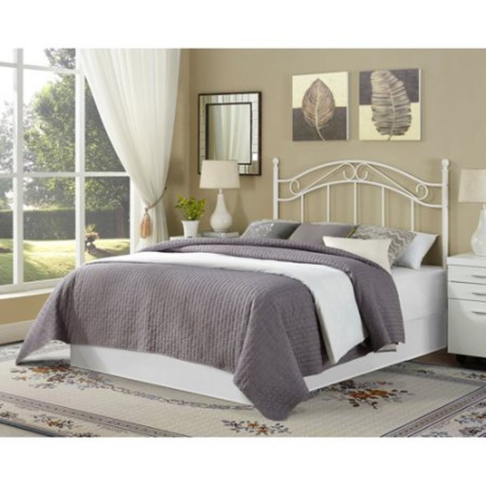 White metal twin bed frame - White Metal Full Queen Headboard Traditional Bedroom Furniture Attach Bed Frame