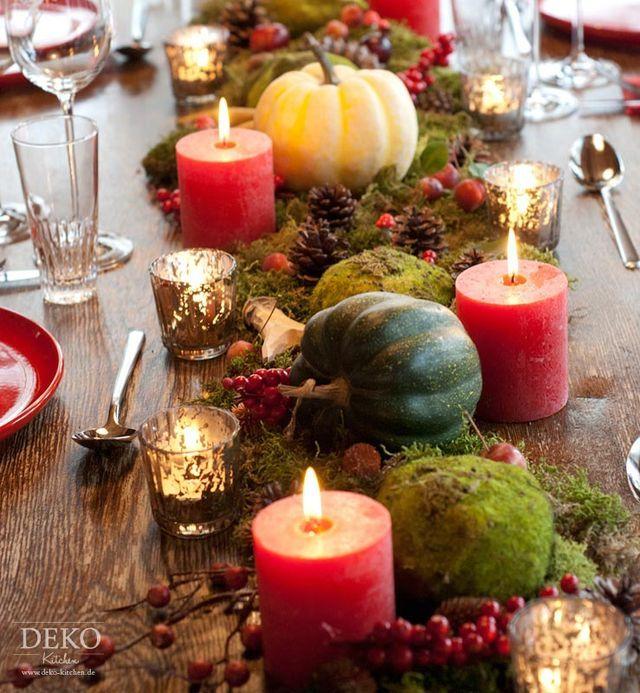 Dekoidee: Hübsche Tischdeko mit Herbstlandschaft (Deko-Kitchen) #tischdekoherbstesstisch
