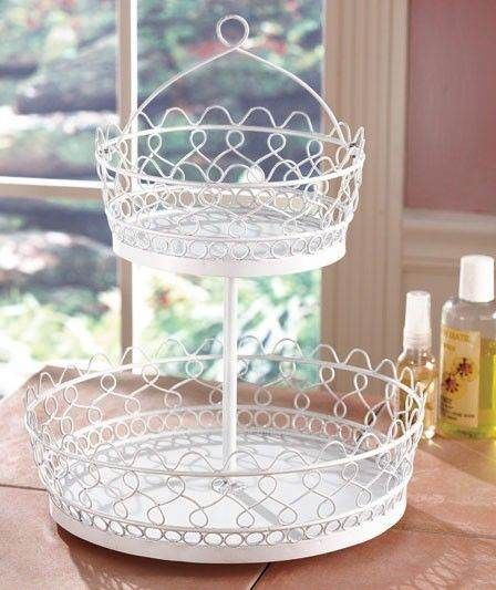 2 Tier Metal Rotating Lazy Susan Makeup Bathroom Vanity Storage Caddy Organizer
