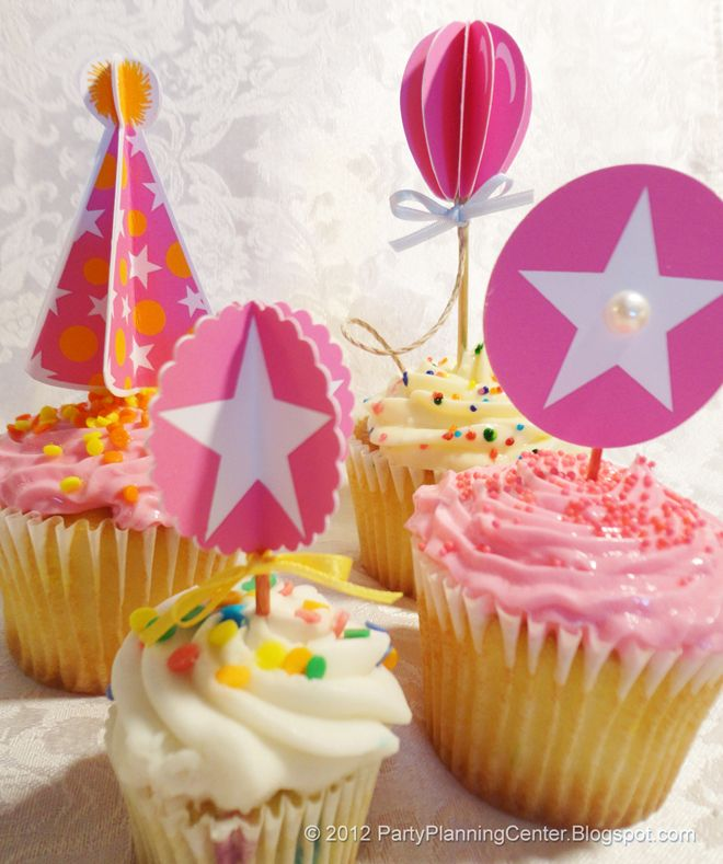 Free printables! 3D cupcake toppers!
