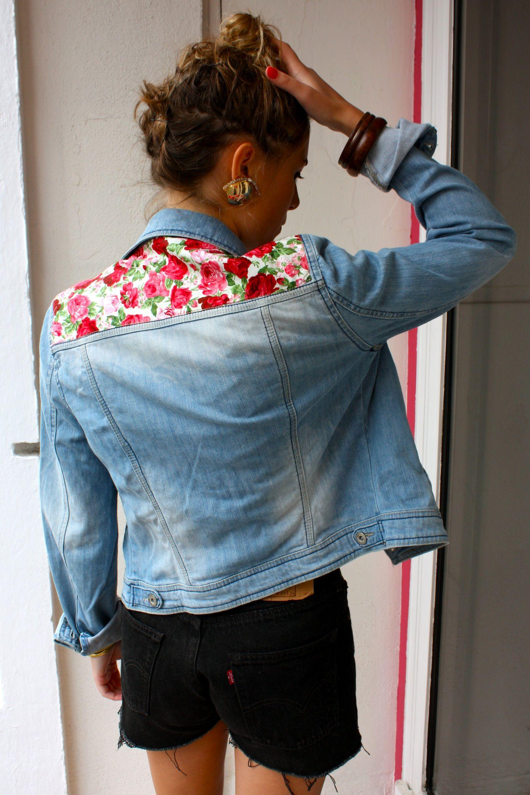 Empiècement Vos Fleuri Ajouté Veste Un En Customisation Jeans Sur BOqECn1
