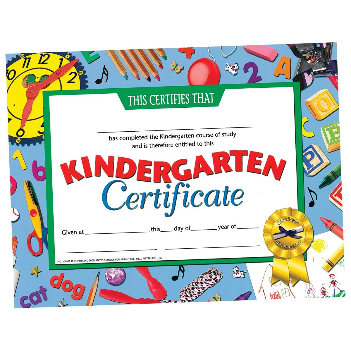Kindergarten Awards Certificates: Kindergarten Certificate With Clocks Border