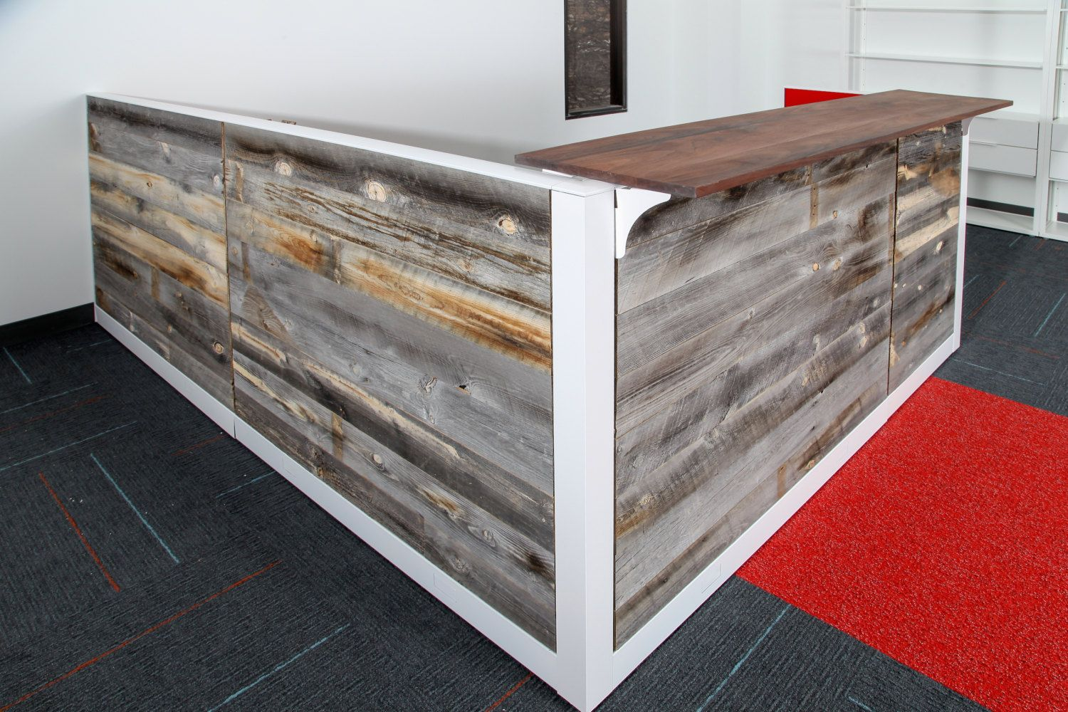 Wood Office Cubicles ~ Reclaimed wood reception desk welcome front