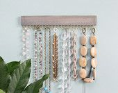 Photo of brown stained wood and gold (brass) or silver (nickel) hanging necklace display rack and organizer