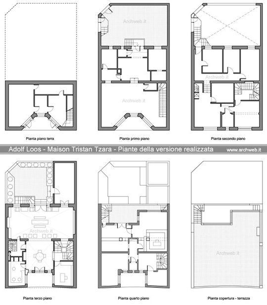 A loos maison tristan tzara piante costruzione for Architettura ville moderne