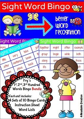Sight Word Bingo BUNDLE - Fry's First, Second, and Third Hundred Words from Readable Creations on TeachersNotebook.com -  (78 pages)  - Fry's First, Second, and Third 100 Instant Words Bingo Packs - BUNDLE