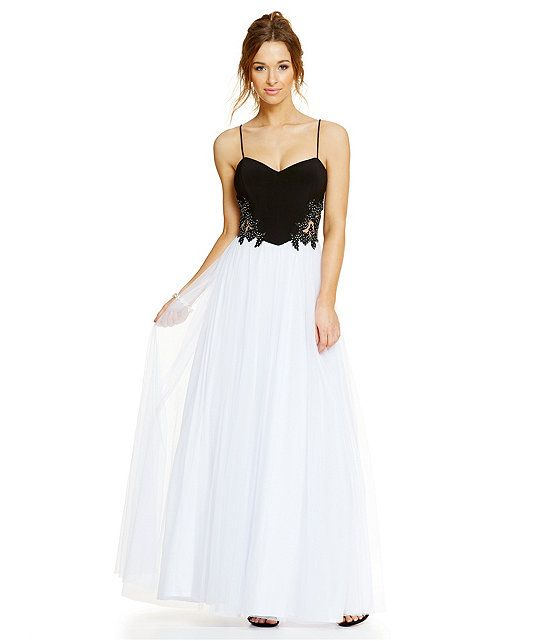 Blondie Nites Embroidered Sides Colorblock Long Dress | Beautiful ...