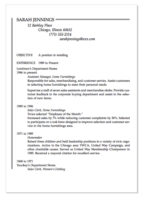 sample resume for a homemaker re-entering the job market ...