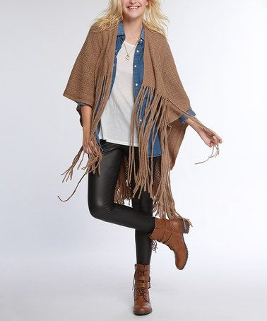 Loving this Light Brown Long-Fringe Ruana on #zulily! #zulilyfinds