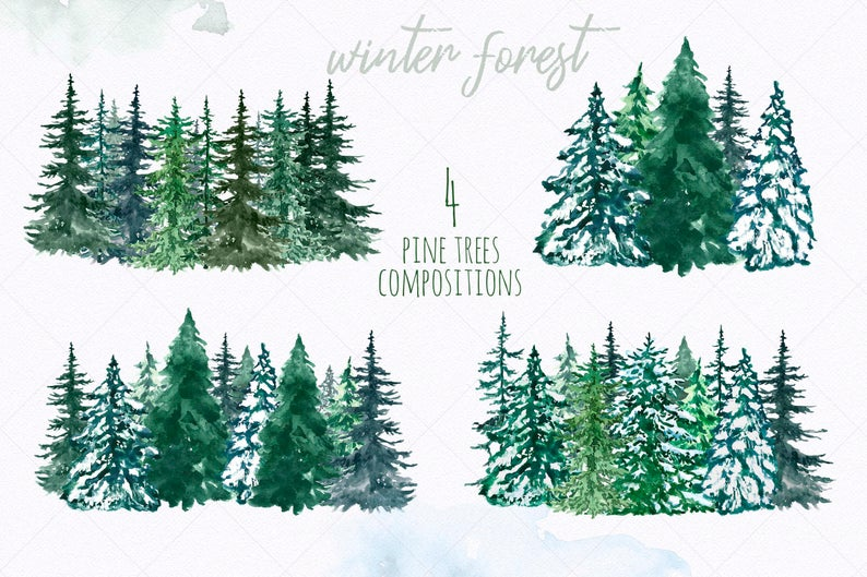 watercolor clipart spruce pine tree conifer trees forest clip art christmas coniferous tree snowy evergreen wood land in 2020 wooded landscaping conifer trees conifers watercolor clipart spruce pine tree