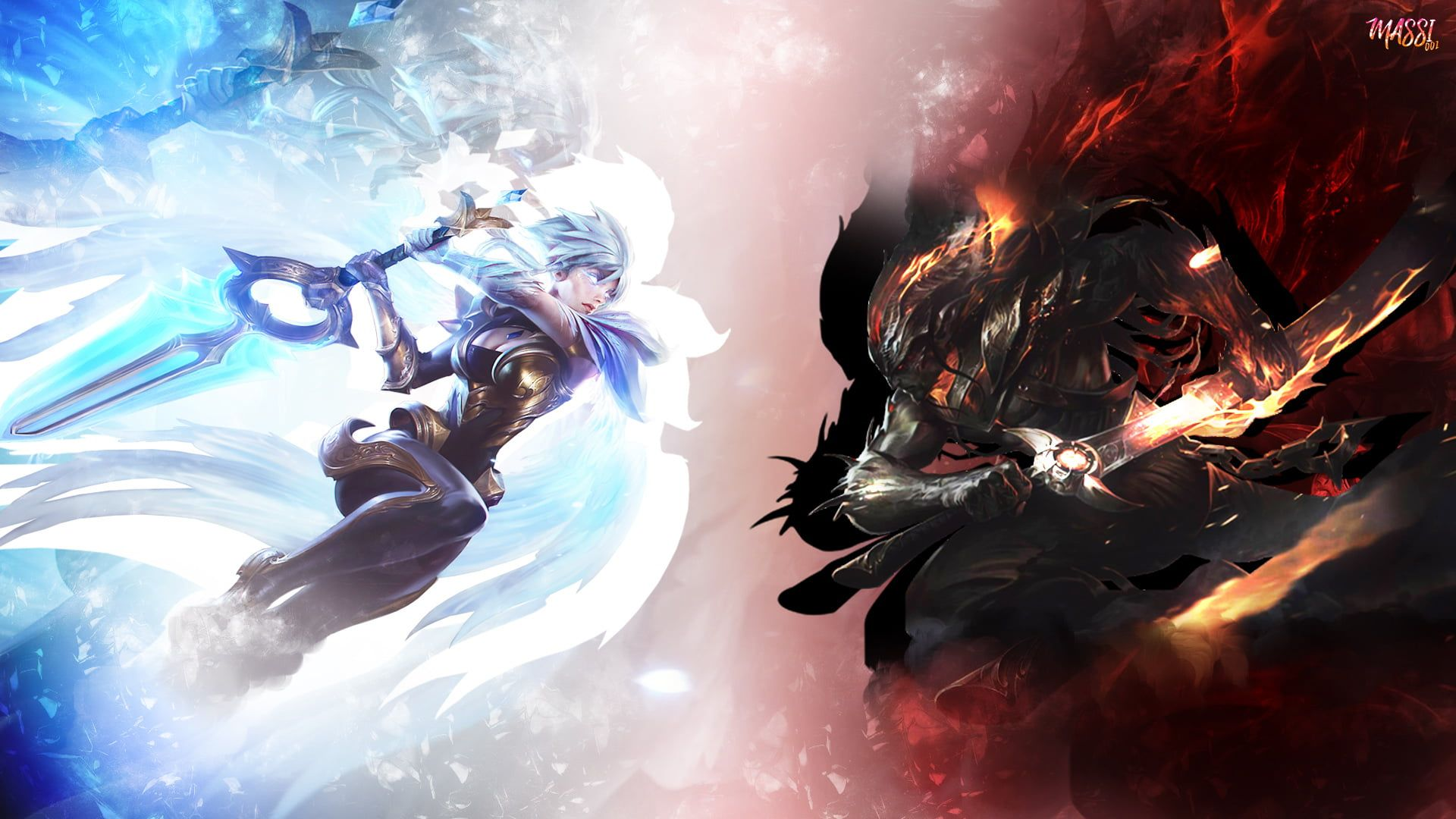 Riven Vs Yasuo Wallpaper Yasuo League Of Legends Riven League
