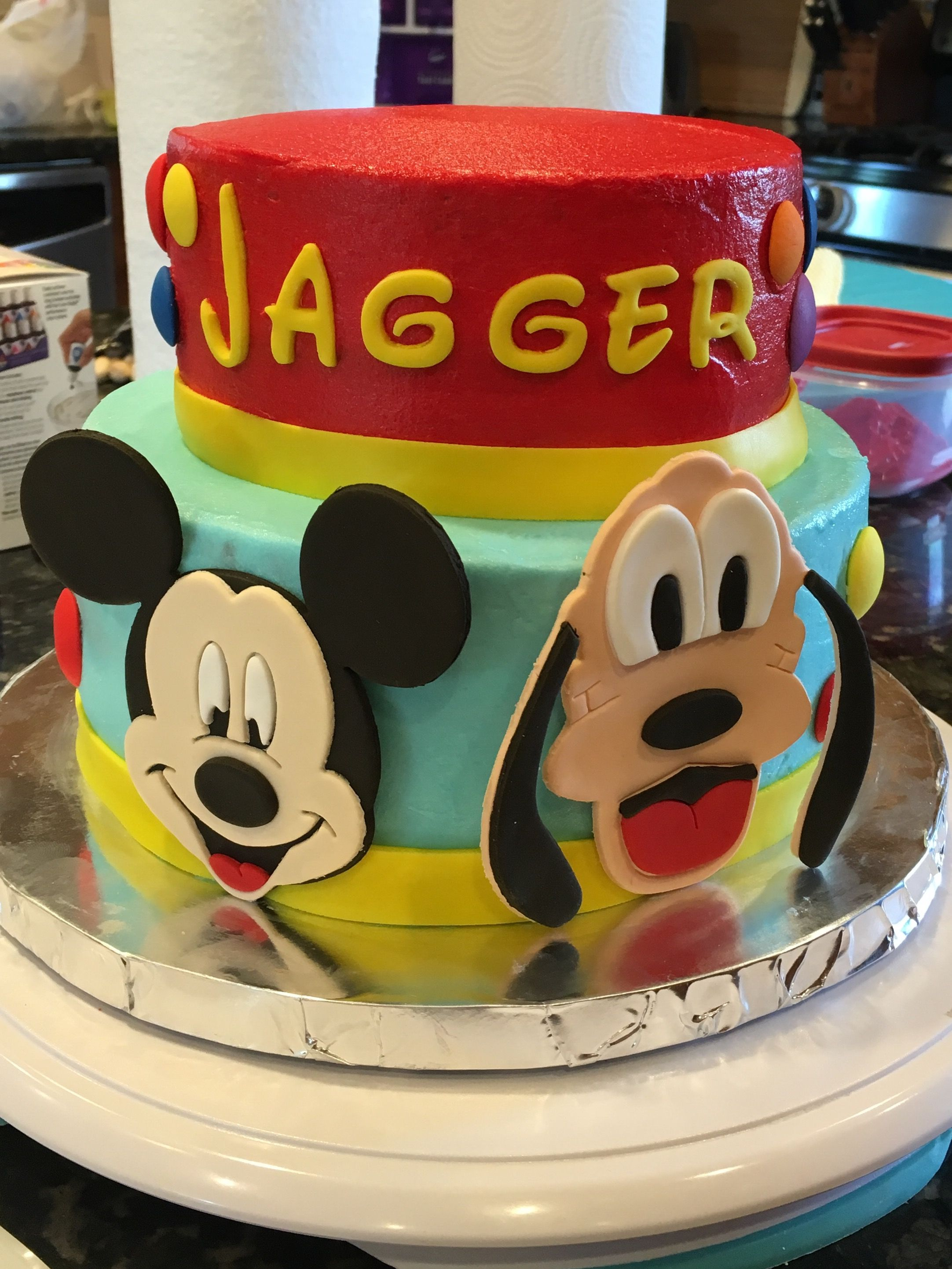Super Mickey Mouse And Pluto Birthday Cake Tiered Fondant Buttercream Funny Birthday Cards Online Elaedamsfinfo