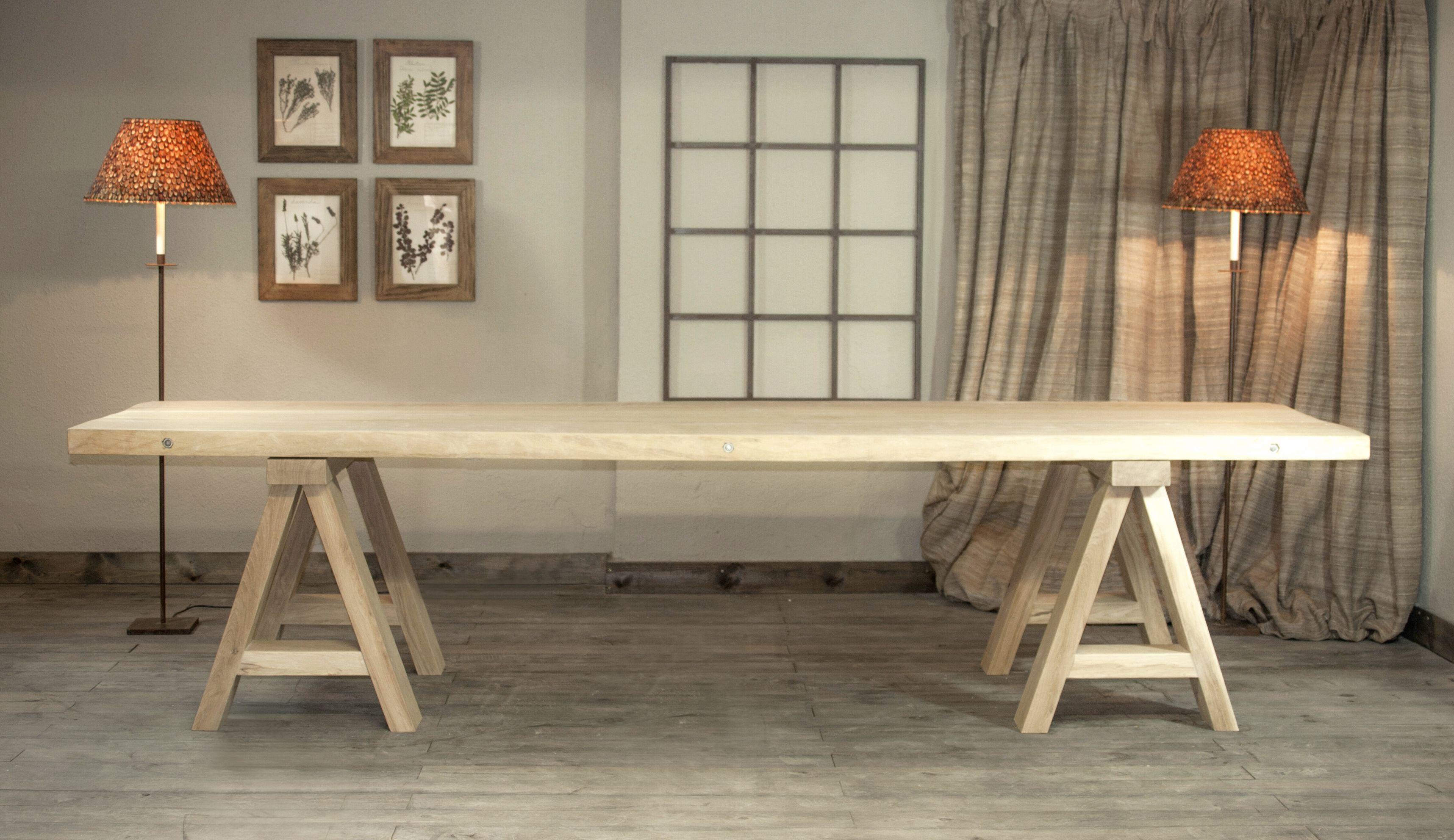 Buque insignia m de fusta mesa de comedor fabricada en - Mesa con caballetes ...