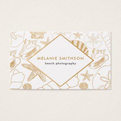 Modern golden shell beach themed business card colourmoves