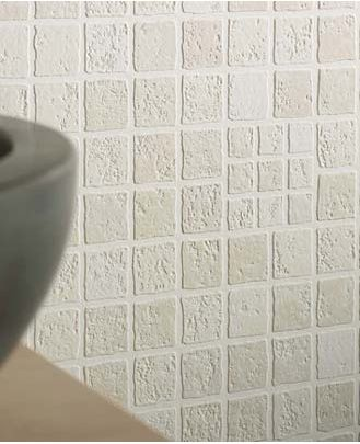 wallpaper that looks like tile... could be a cheap temporary alternative for a backsplash until ...