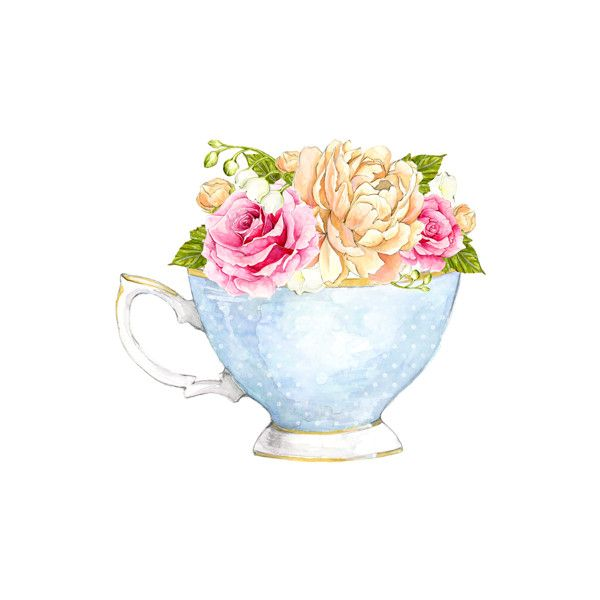 Tea Party 2 Png Liked On Polyvore Featuring Watercolor Tea Cup Art Cup Art Art