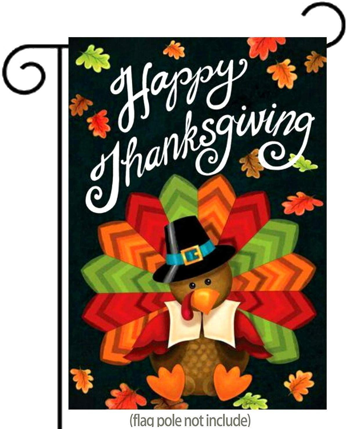 Happy Thanksgiving Garden Flag Cute Colorful Turkey With Autumn Leaves Double Sided Premier Polyester Thanksgiving Yard Flag To Bright