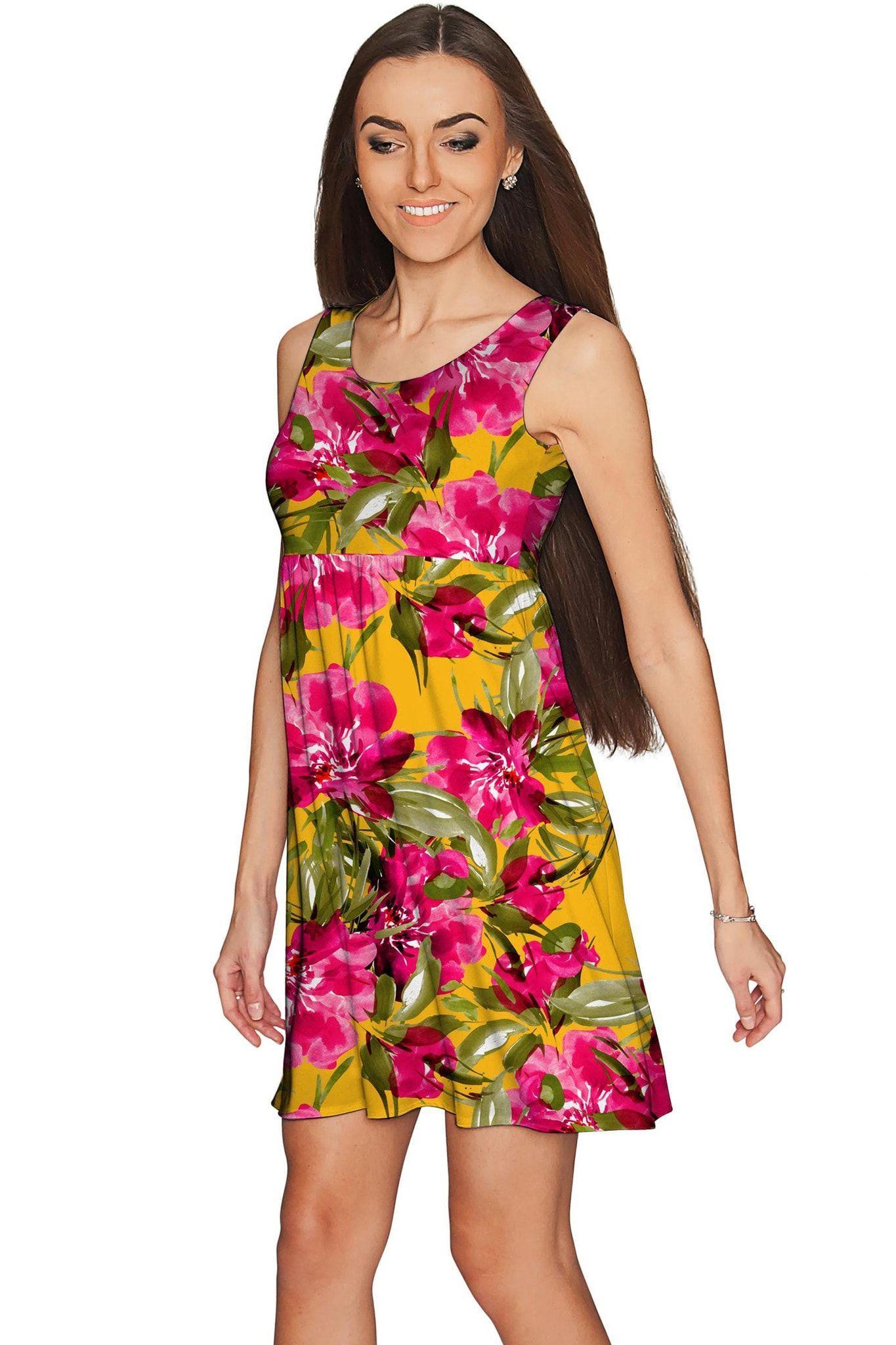 836e10b29f40 Indian Summer Sanibel Pink & Yellow Floral Print Dress - Women ...