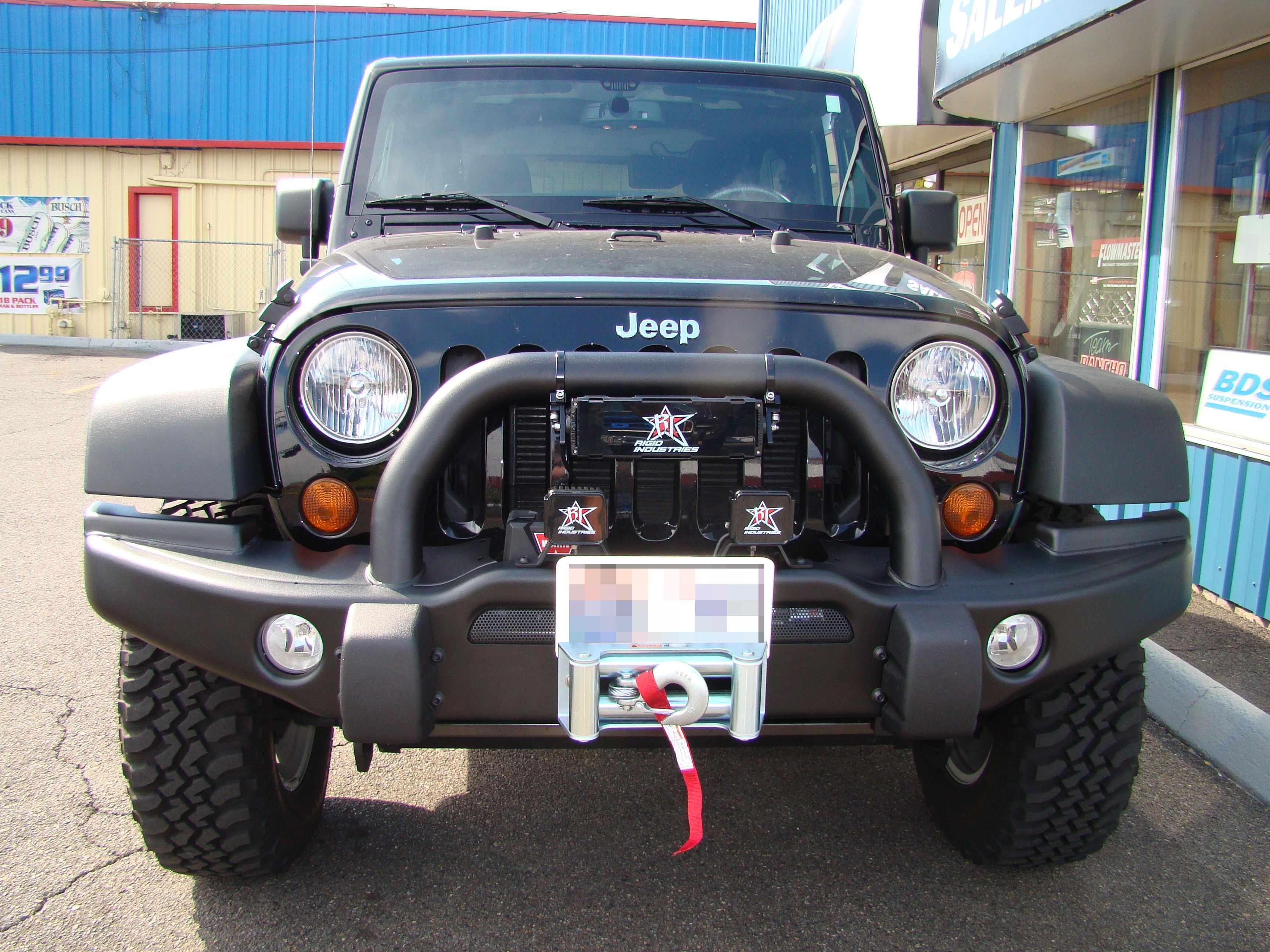 on this 2012 jeep wrangler jk we installed a aev front bumper with